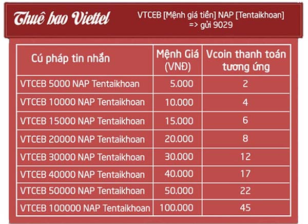Đổi tiền điện thoại sang thẻ cào Vcoin
