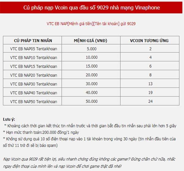Mua thẻ Game Vcoin bằng SMS Vinaphone